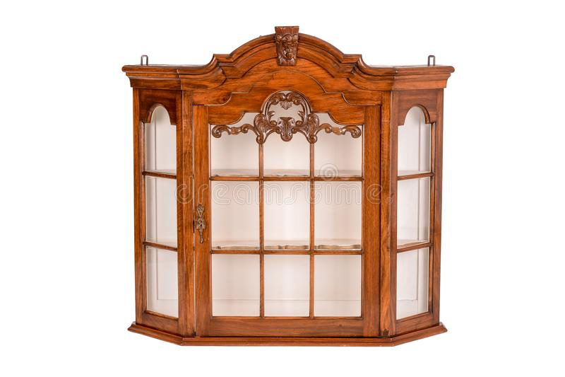 Glass antikt skärmkabinett arkivbilder