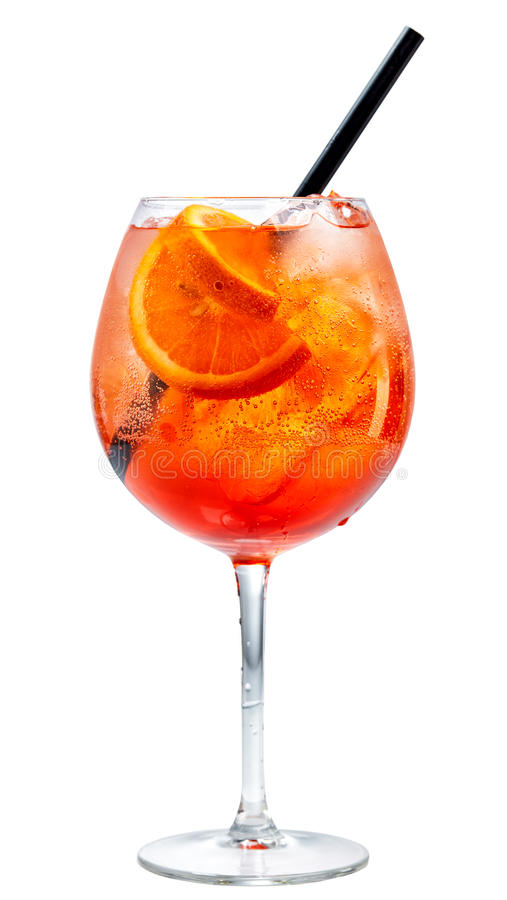 Glass of aperol spritz cocktail. Isolated on white background royalty free stock photography