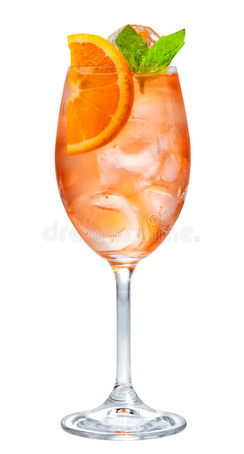 Glass of aperol spritz cocktail. Isolated on white background stock photography