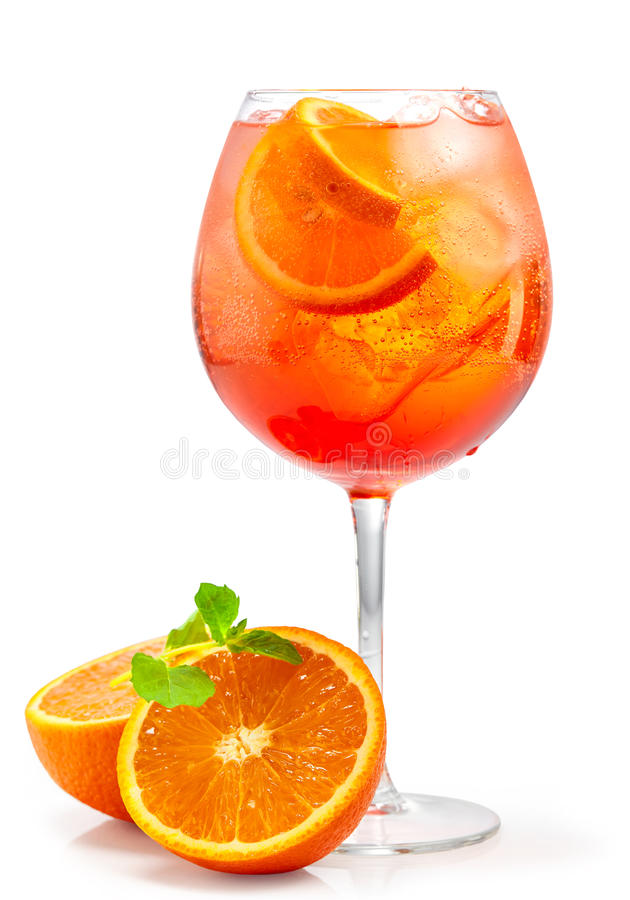 Glass of aperol spritz cocktail. Isolated on white background royalty free stock image