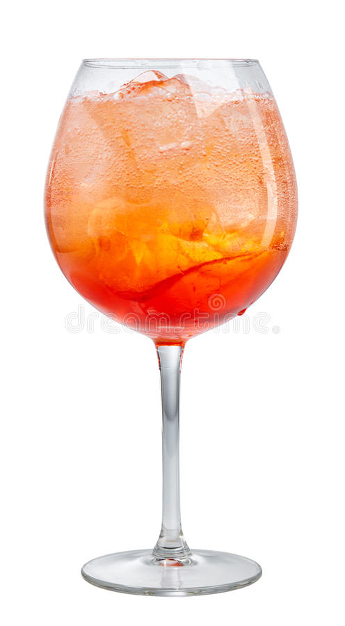 Glass of aperol spritz cocktail. Isolated on white background, selective focus royalty free stock photo
