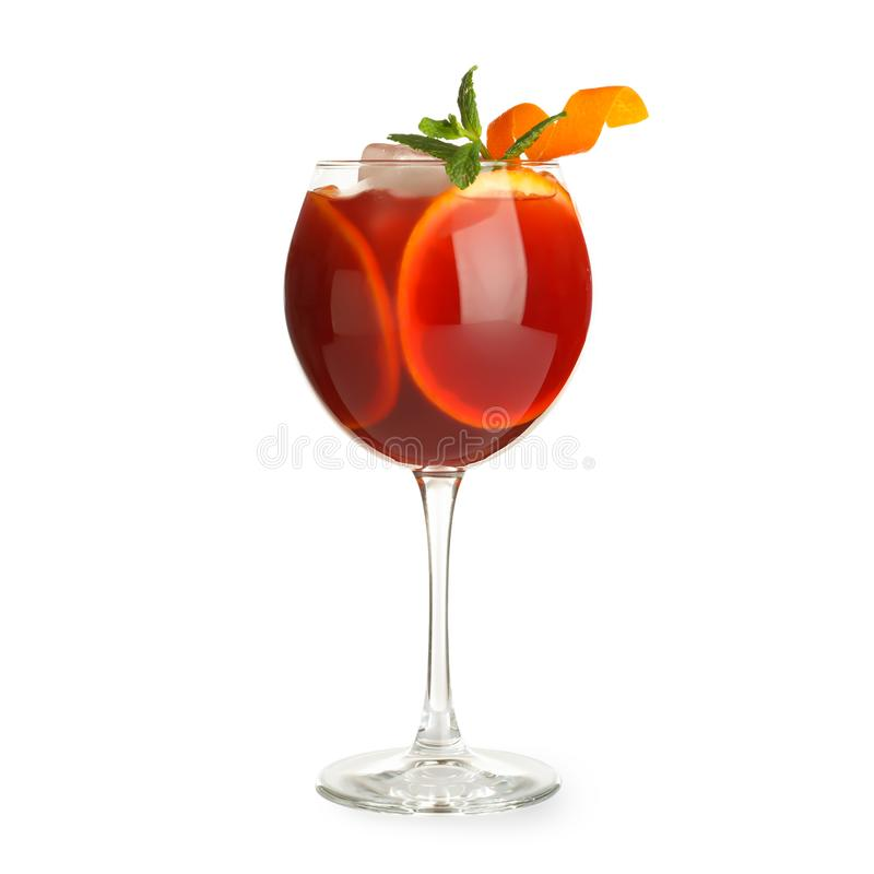 Glass of Aperol Spritz cocktail on white. Traditional alcoholic drink stock images