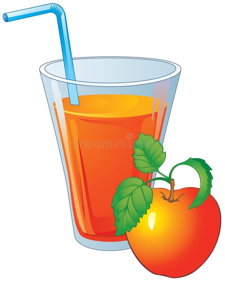 Glass of apple juice. Glass of fresh apple juice vector illustration