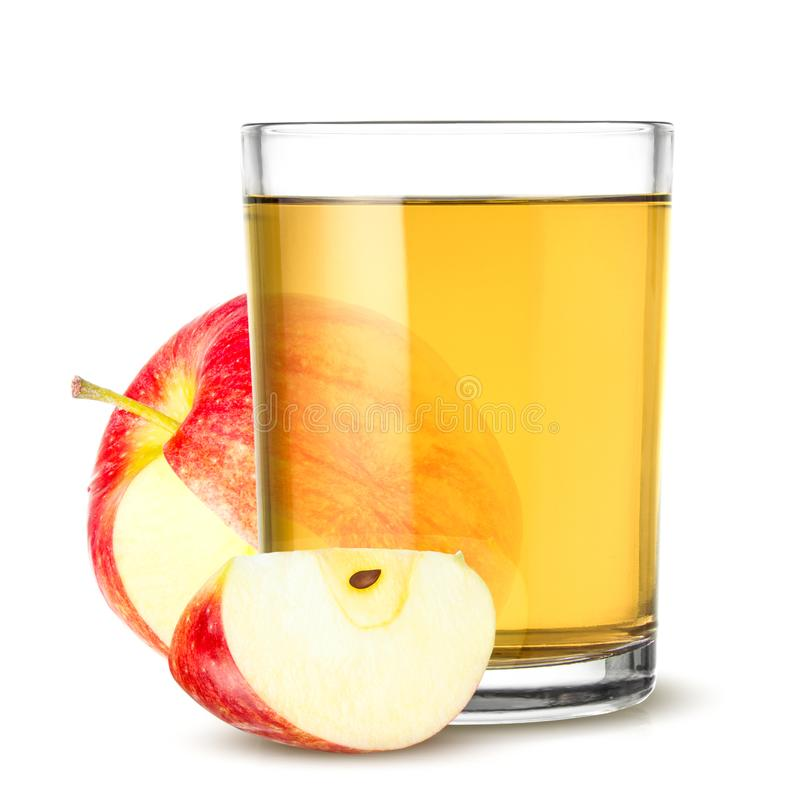 Glass of apple juice isolated on white royalty free stock photography