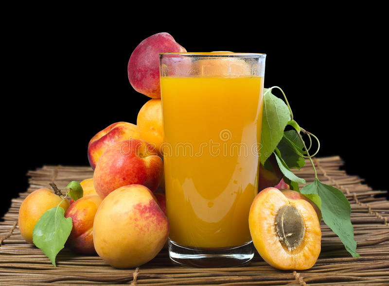 Download Glass Apricot Juice And Fruits Black Isolated. Stock Photo - Image: 33627486