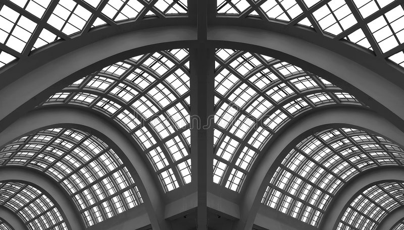 Glass arch roof - building royalty free stock photos