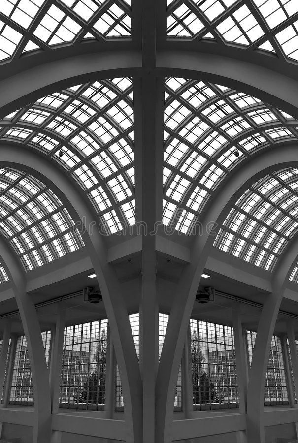 Glass arch roof - building stock photos