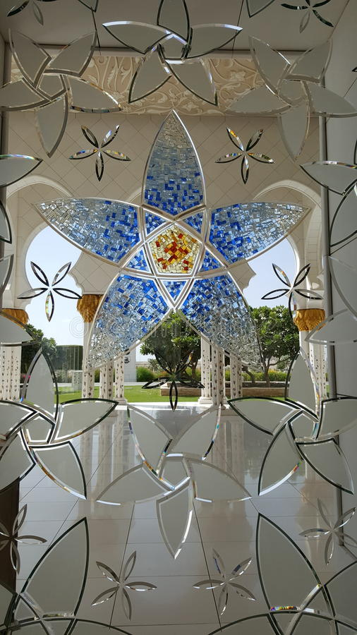 Glass Architecture in Grand Mosque AbuDhabi stock photos