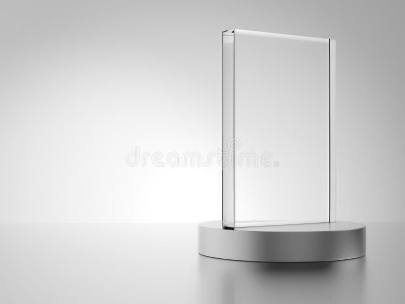 Glass award with metal base vector illustration
