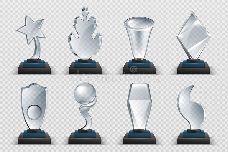 Glass awards. Realistic transparent winner trophy, acrylic stars cups and competition prizes. Vector isolated fogged. Glass awards. Realistic transparent winner stock illustration