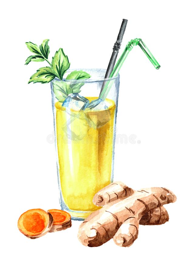 Glass of ayurvedic drink golden coconut milk turmeric iced latte with mint. Watercolor hand drawn illustration, isolated. On white background royalty free illustration