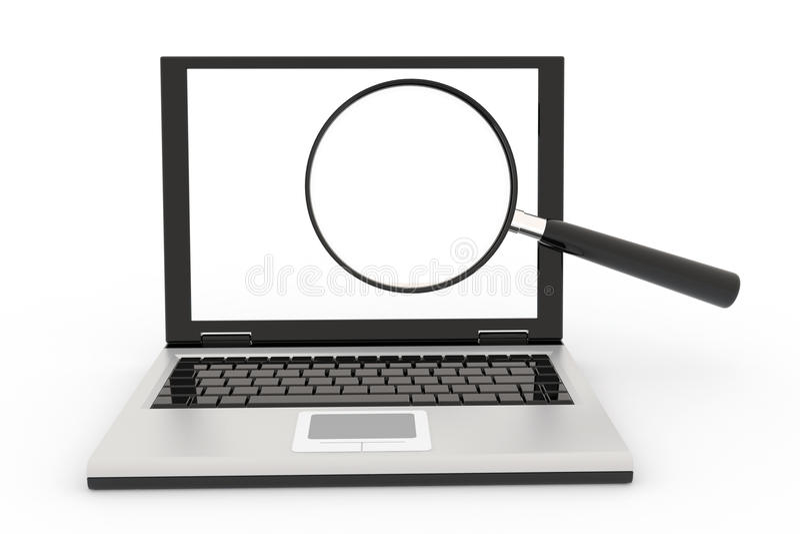 glass bärbar dator som förstorar vektor illustrationer