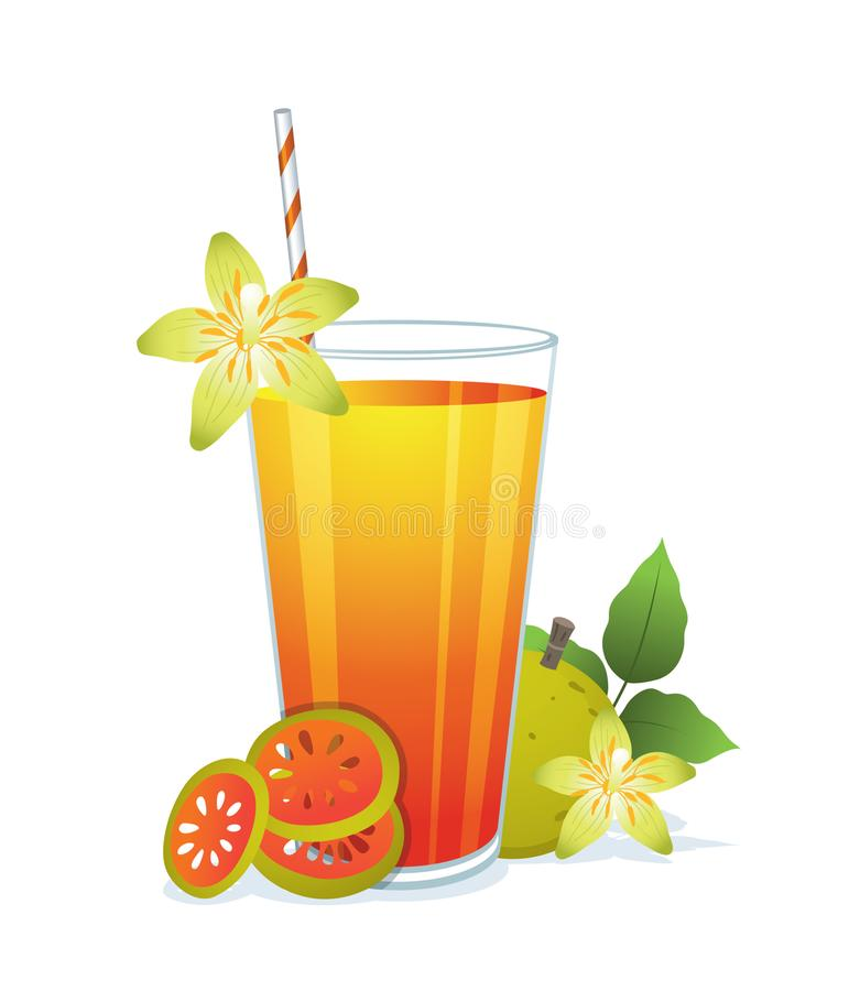 Glass of bael juice. Glass of bael juice ,medicinal bael fruit and dried bael fruits on white background stock illustration