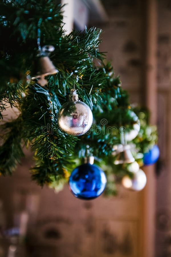 Free Glass Ball And Decorations On Christmas Tree ,Christmas Tree Garland With Blue And Silver Balls, Close-up. Perspective, Blur Stock Image - 159102841
