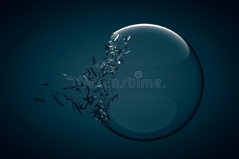 Glass Ball Exploding. On a dark blue background royalty free illustration