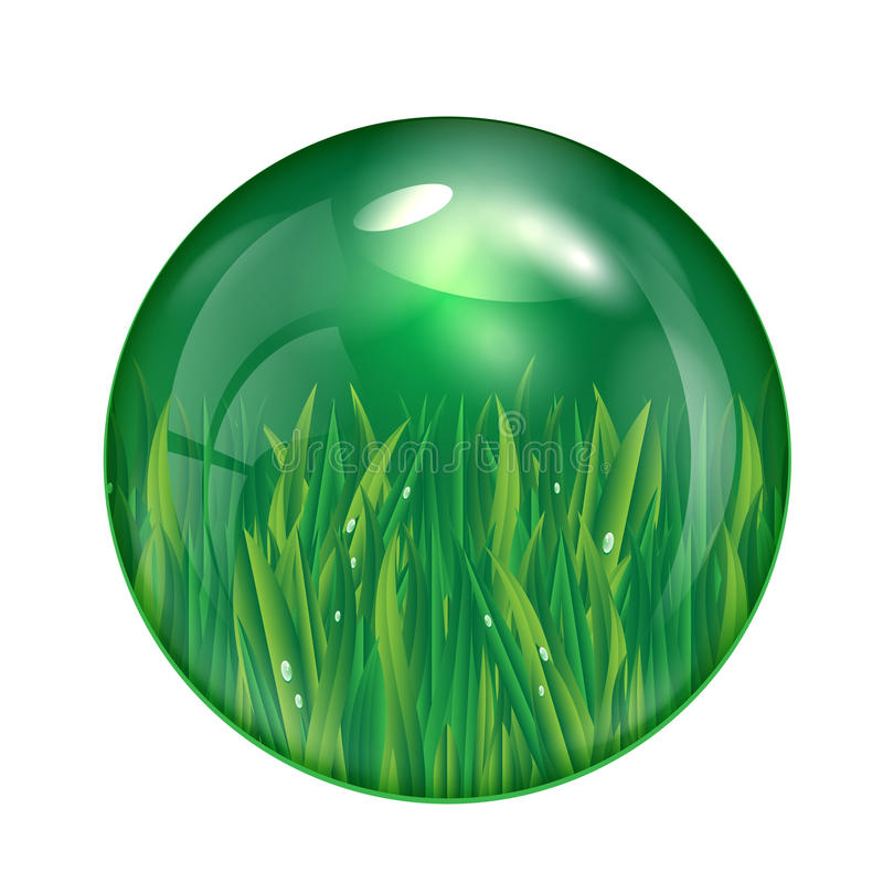 Glass ball with green grass isolated on white back royalty free illustration