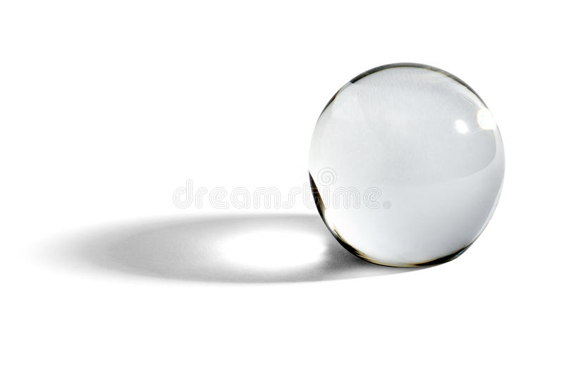 Glass ball or orb with shadow stock image