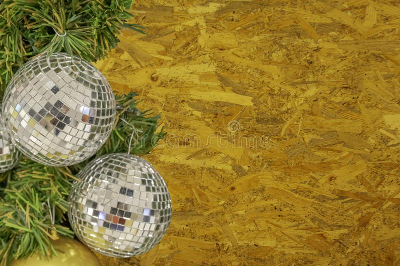 Glass ball ornaments on a Christmas tree Background Compacted sliver sheet with clipping path. royalty free stock image
