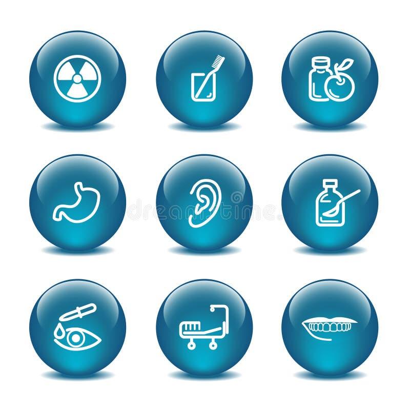 Glass ball web icons, set 15 stock illustration