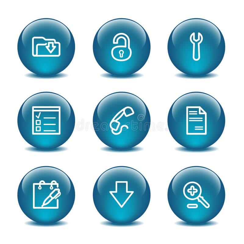 Glass Ball Web Icons, Set 8 Stock Image
