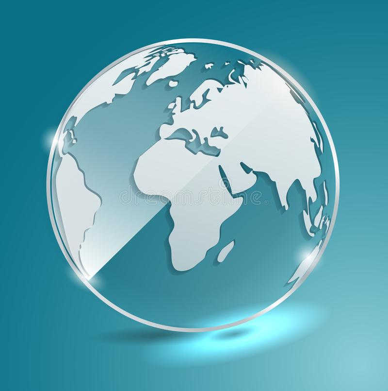 download glass ball with world map earth geographic map globe vector banner