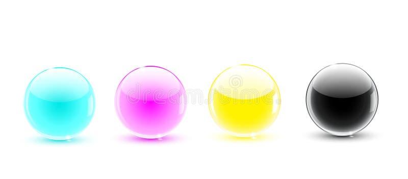 Glass balls CMYK stock illustration