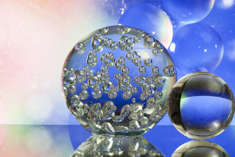 Download Glass Balls In Front Of Pink And Blue Stock Image - Image: 18957631