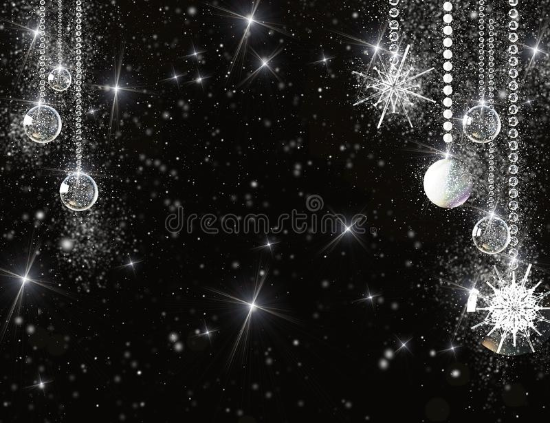 Glass balls, snowflakes and baubles on a black snowy background. Beautiful festive background with place for advertising text.  stock photos