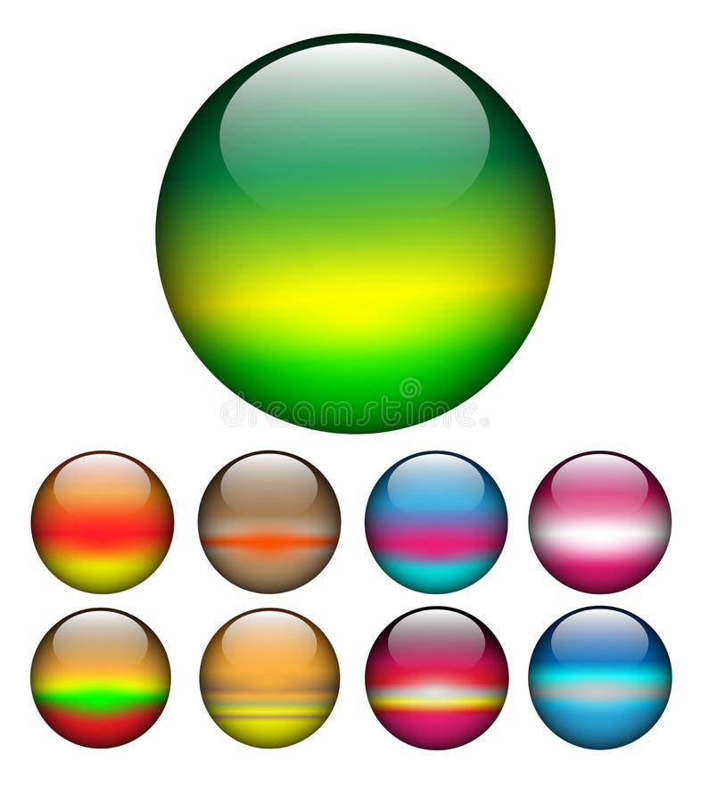 Glass balls, spheres. Glass spheres, balls multicolored web buttons vector set vector illustration
