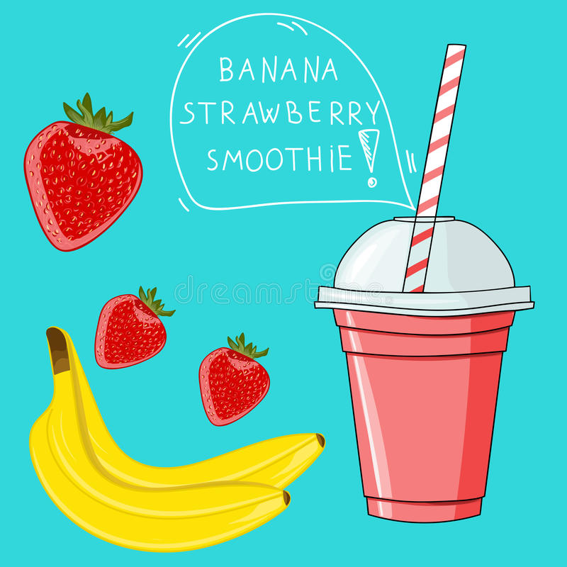 Glass with banana strawberry smoothie. Natural bio drink, health vector illustration