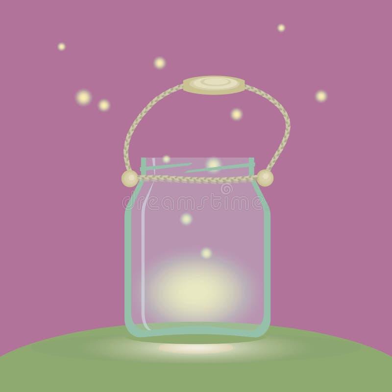 Glass banklykta med eldflugaljus på en rosa illustration för vektor för handtag för rep för bakgrundsgräsplanglänta vektor illustrationer