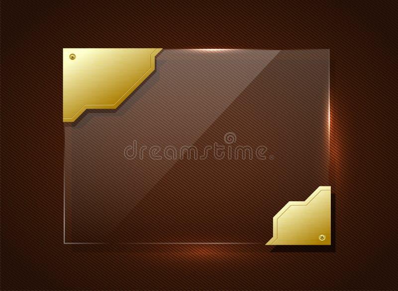 Glass banner in golden frame vector illustration