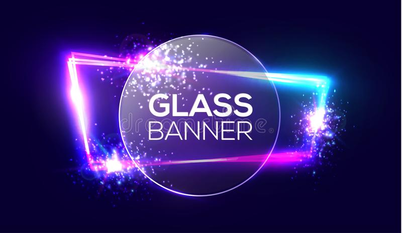 Glass banner on neon light frame with transparent round plate. Glowing sign with flares, explosion and fireworks. Glass banner on neon light frame with royalty free illustration