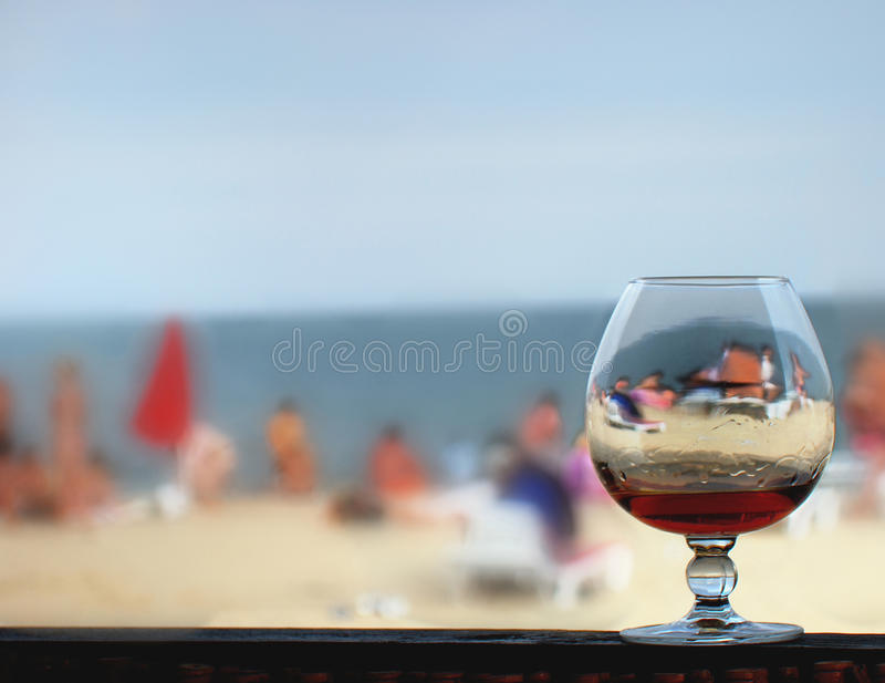 Glass, beach, sea stock image