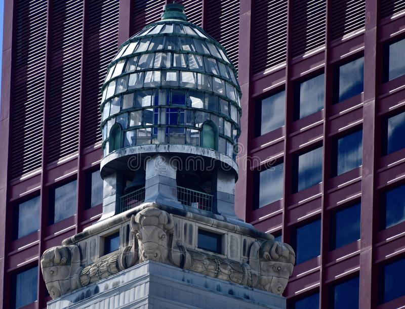 """The Glass Beehive. This is a Fall picture of the iconic 20-foot tall blue glass """"Beehive"""" which contains lights and sits on a royalty free stock photos"""