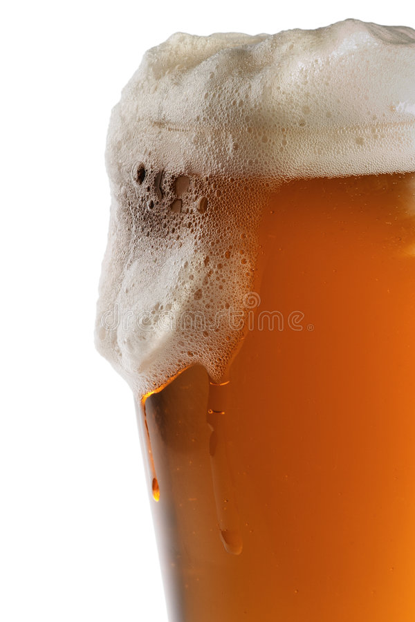 Glass of beer. With foam, isolated on white royalty free stock photo