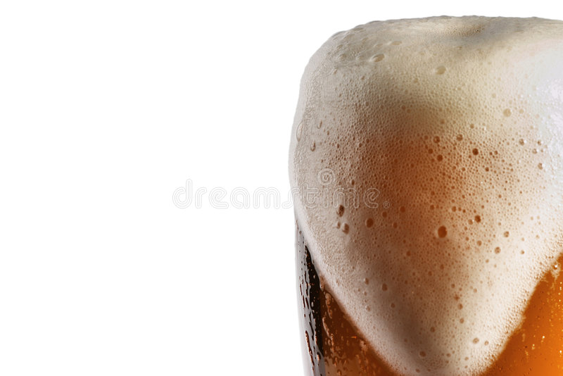 Glass of beer. With foam isolated on white royalty free stock photos