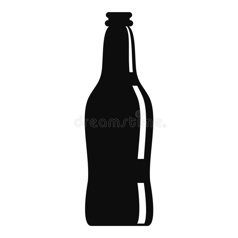 Glass beer bottle icon, simple style. Glass beer bottle icon. Simple illustration of glass beer bottle vector icon for web design isolated on white background royalty free illustration
