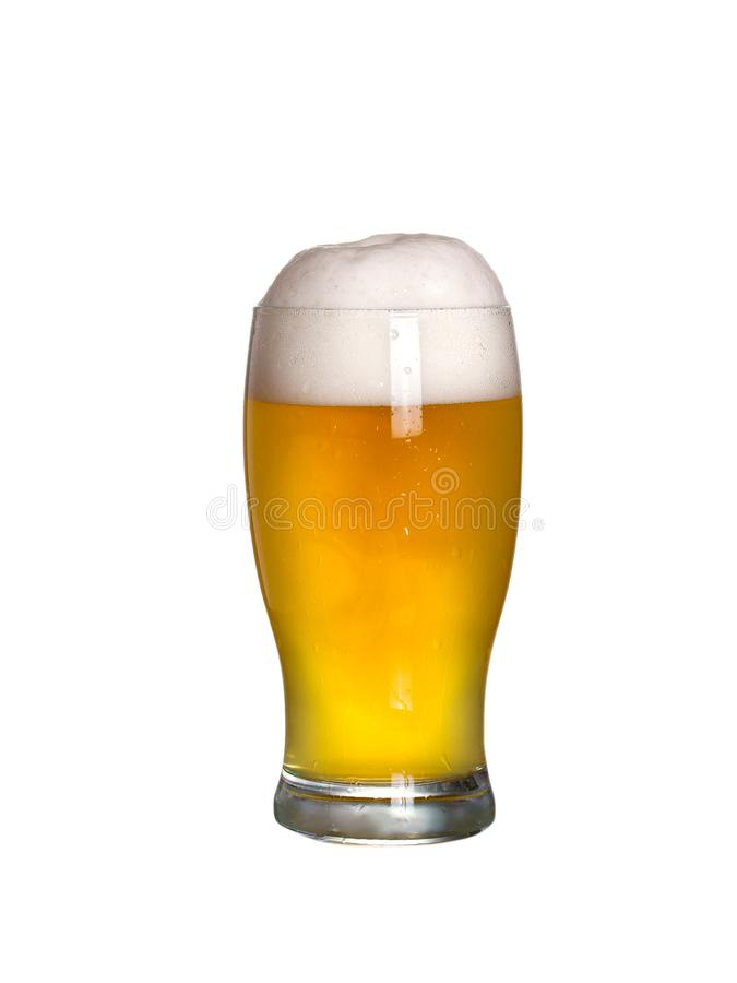 Glass of beer with cap of foam. Glass of ale isolated on white background. Glass of beer with cap of foam. Glass of ale isolated on white background stock photography