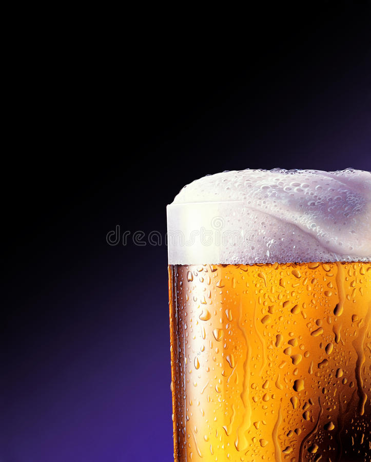 Download Glass of beer close-up stock illustration. Image of gold - 22728889