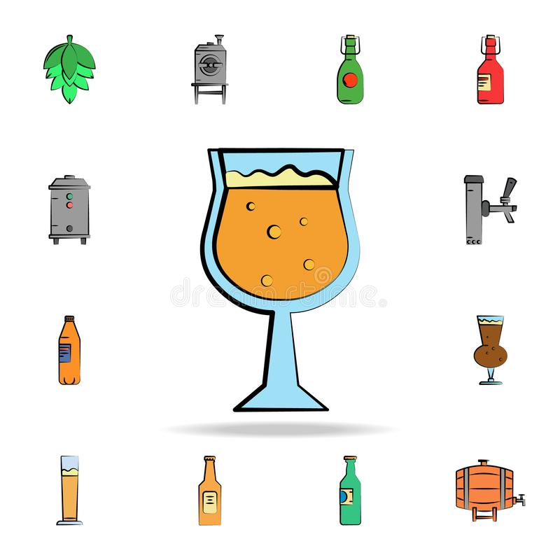Glass of beer colored sketch style icon. Detailed set of color beer in hand drawn style icons. Premium graphic design. One of the. Collection icons for websites vector illustration