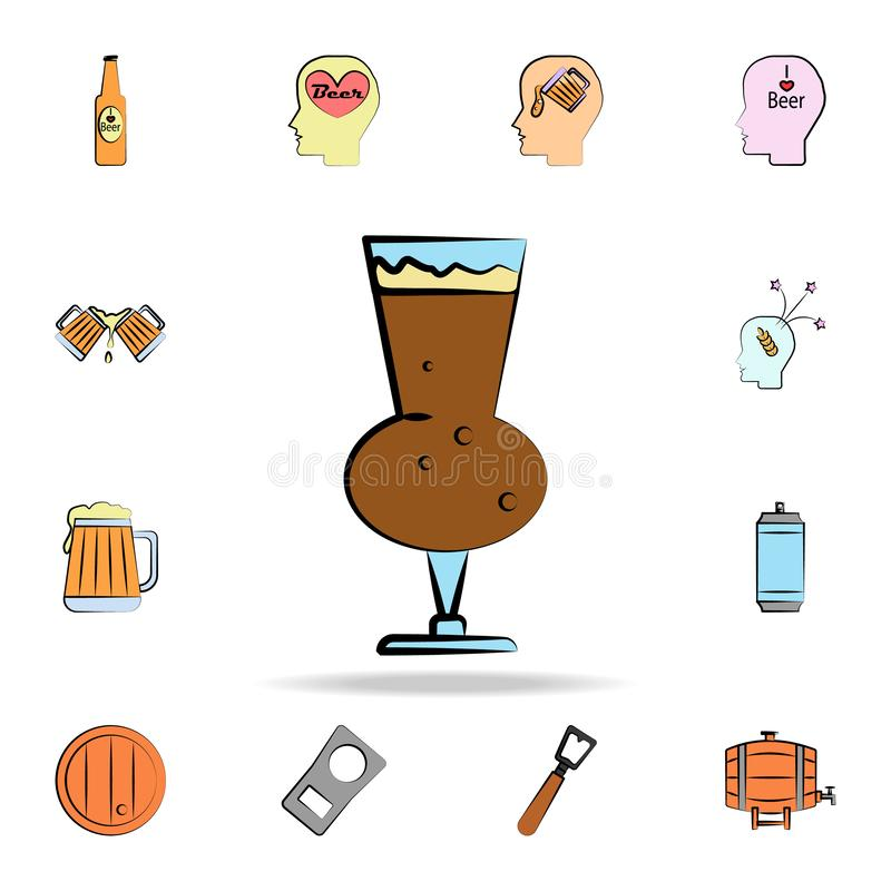Glass of beer colored sketch style icon. Detailed set of color beer in hand drawn style icons. Premium graphic design. One of the. Collection icons for websites stock illustration