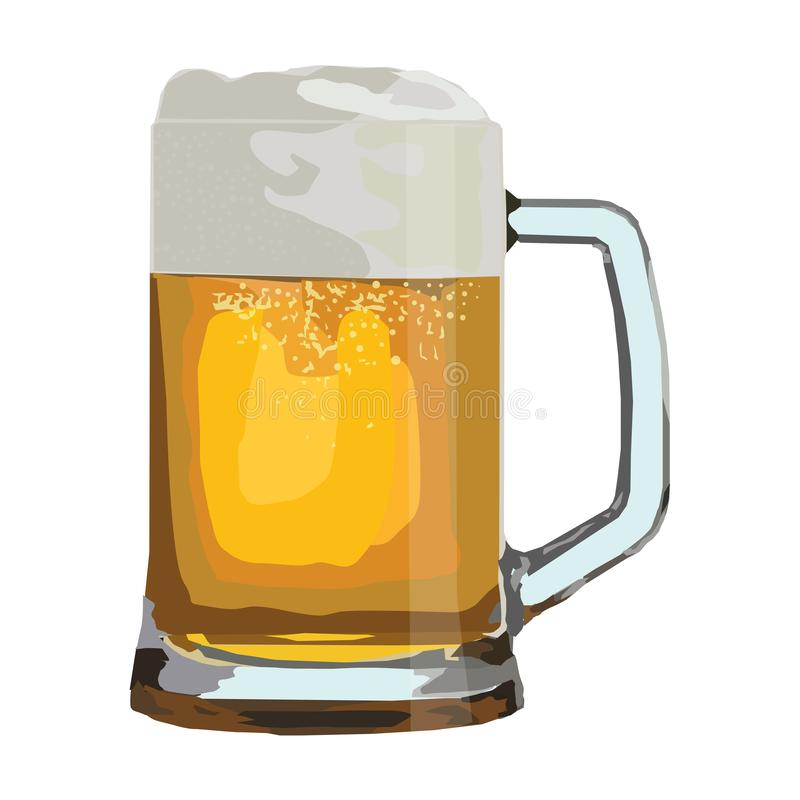 Glass of beer  drawing. The foamy beer poured in a glass mug, the  drawing on a white background royalty free illustration