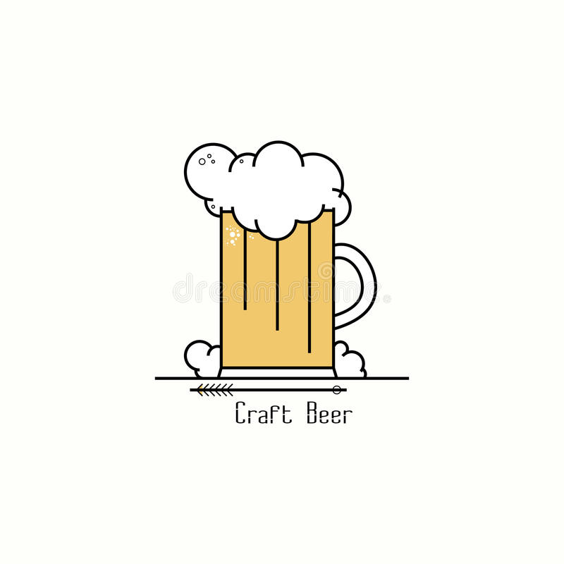 Glass of beer with foam. Line art badge logo design template royalty free illustration