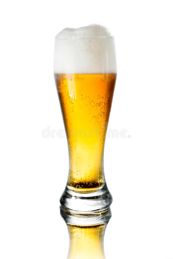 Glass of beer. With foam on white background royalty free stock photos