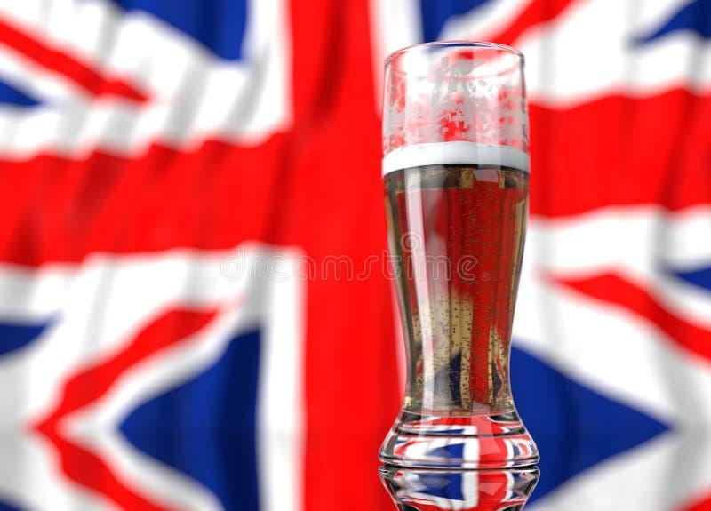 a glass of beer in front a united kingdom flag. 3D illustration rendering. royalty free illustration