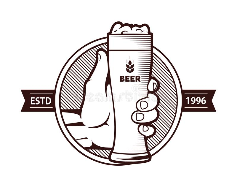 A glass of beer with a hand. vector illustration