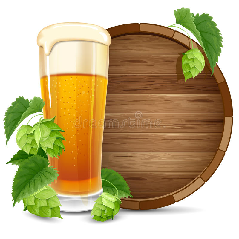 Glass of beer and hops. Glass of beer, barrel and hops on white background vector illustration