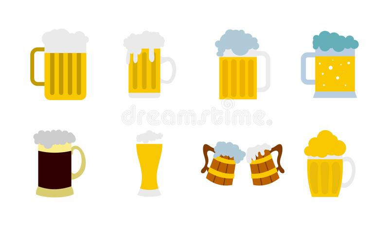 Glass of beer icon set, flat style royalty free illustration