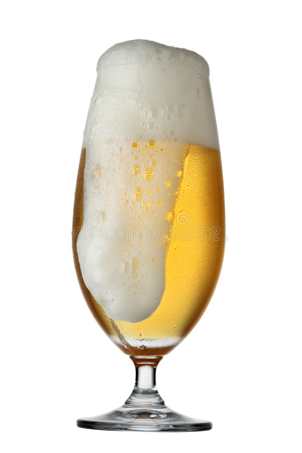 Glass beer isolated on white background. Clipping path included. More beverage available royalty free stock photo